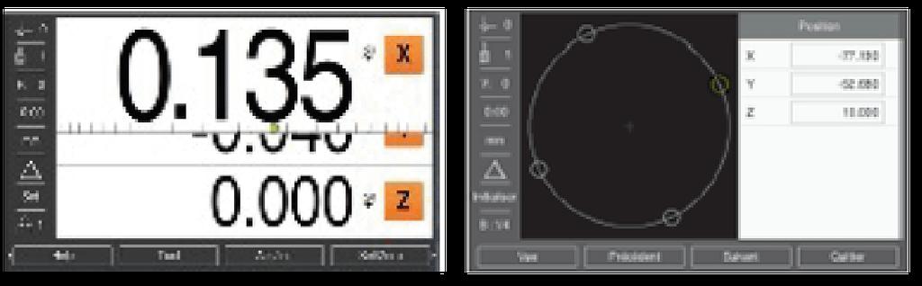 Motifs de trous circulaires et linéaires sur visualisation de cotes ND 5023 HEIDENHAIN